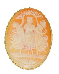 Shell Cameo Brooch Pin VJ001