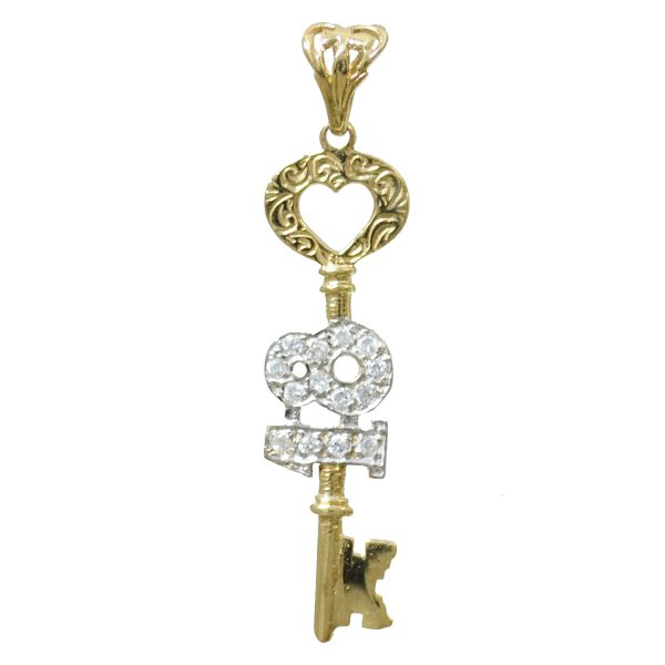 9ct Gold 18th key Birthday Pendant pd0452