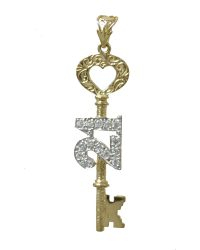9ct Gold 21st key Pendant pd0453