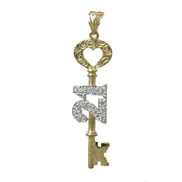 9ct Gold 21st key Birthday Pendant pd0453
