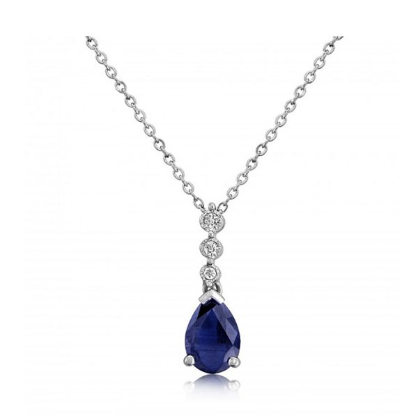 9ct-White-Gold Sapphire/Diamond Pendant-Necklace