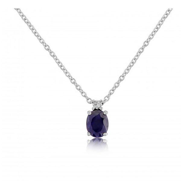 9ct-White-Gold Sapphire/Diamond Necklace