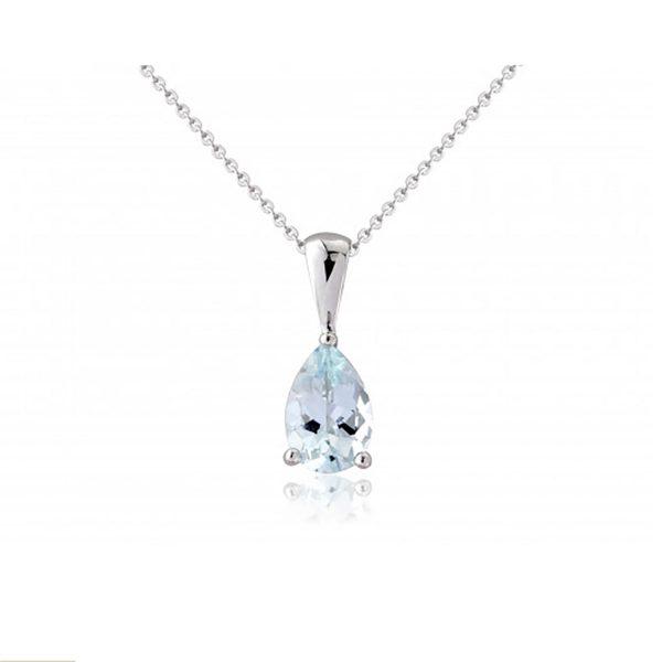 9ct-White-Gold Aquamarine Pendant-Necklace