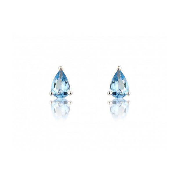 9ct-White-Gold Pear-Aquamarine Earrings
