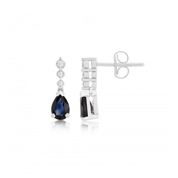 9ct-White-Gold Diamond/Sapphire Earrings