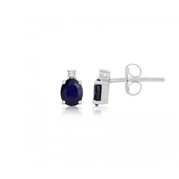 9ct-White-Gold Sapphire/Diamond Earrings 8K13WDS
