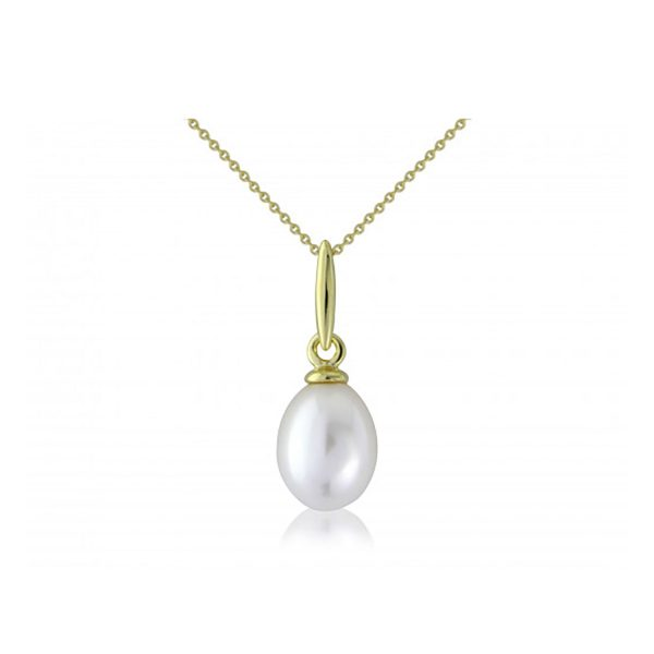 9ct-Yellow-Gold Pearl Pendant-Necklace