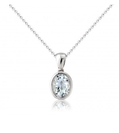 9ct-W-Gold Aquamarine Pendant-Necklace