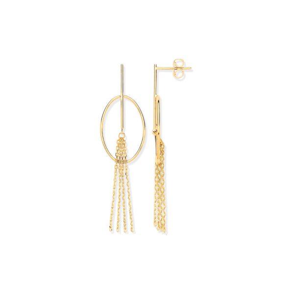 Y/G Oval-Tube Tassel Drop-Earrings ER1629